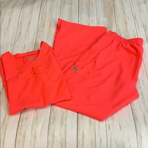Size M Grey's Anatomy Coral/Orange  Scrub Set